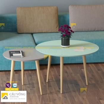 Bàn sofa hình tròn chân gỗ giá rẻ SF90