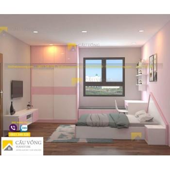 Phòng ngủ trẻ em màu hồng PTE96