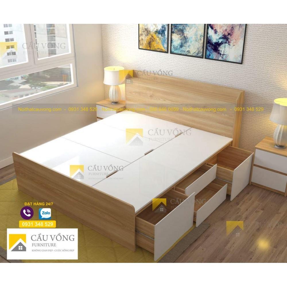 Giường có ngăn kéo, hộc để đồ hiện đại GCV50