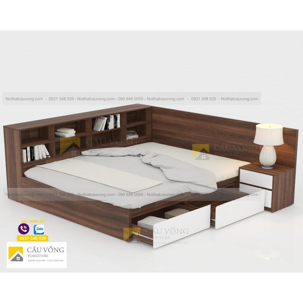 Giường ngủ có kệ sách GCV93