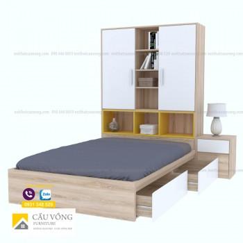 Giường ngủ kết hợp tủ sách GTE91