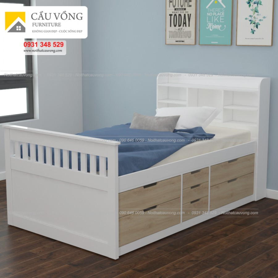 Giường ngủ có ngăn kéo gỗ công nghiệp GTE94
