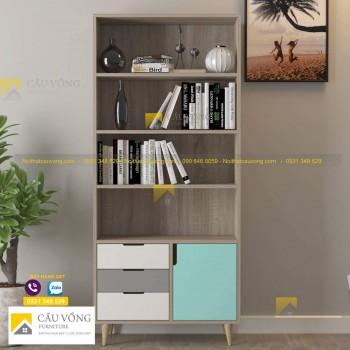 Giá sách trang trí phòng khách hiện đại KS74