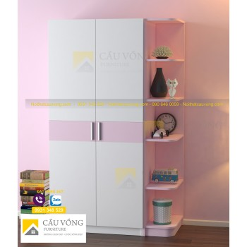 Tủ áo trẻ em màu hồng TTE94