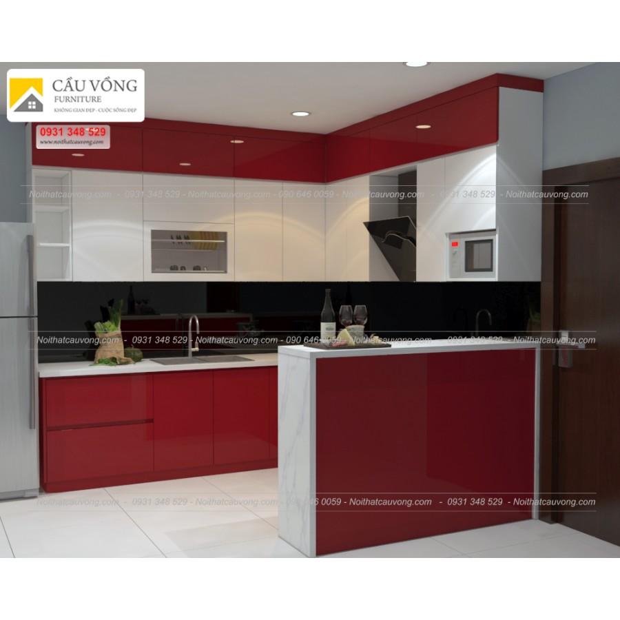 Tủ bếp acrylic hiện đại TB32