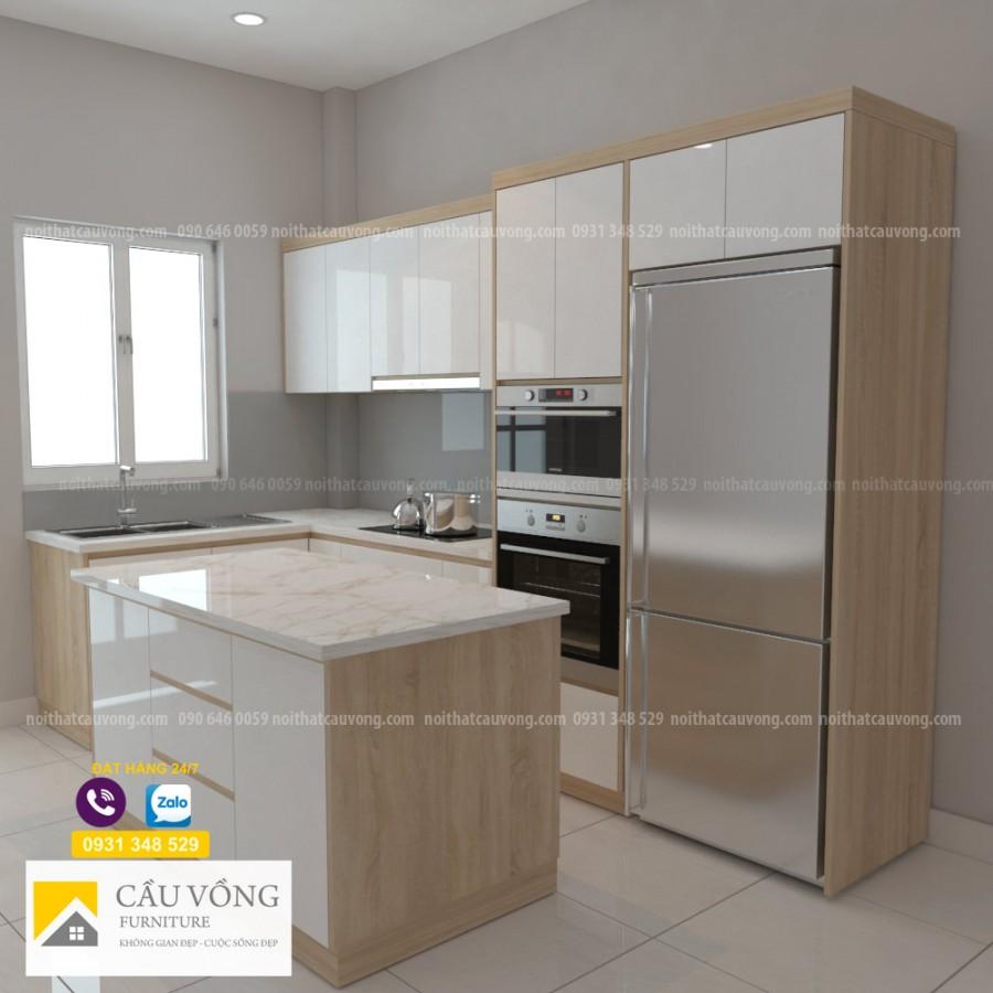 Tủ bếp Melamine hiện đại TB57