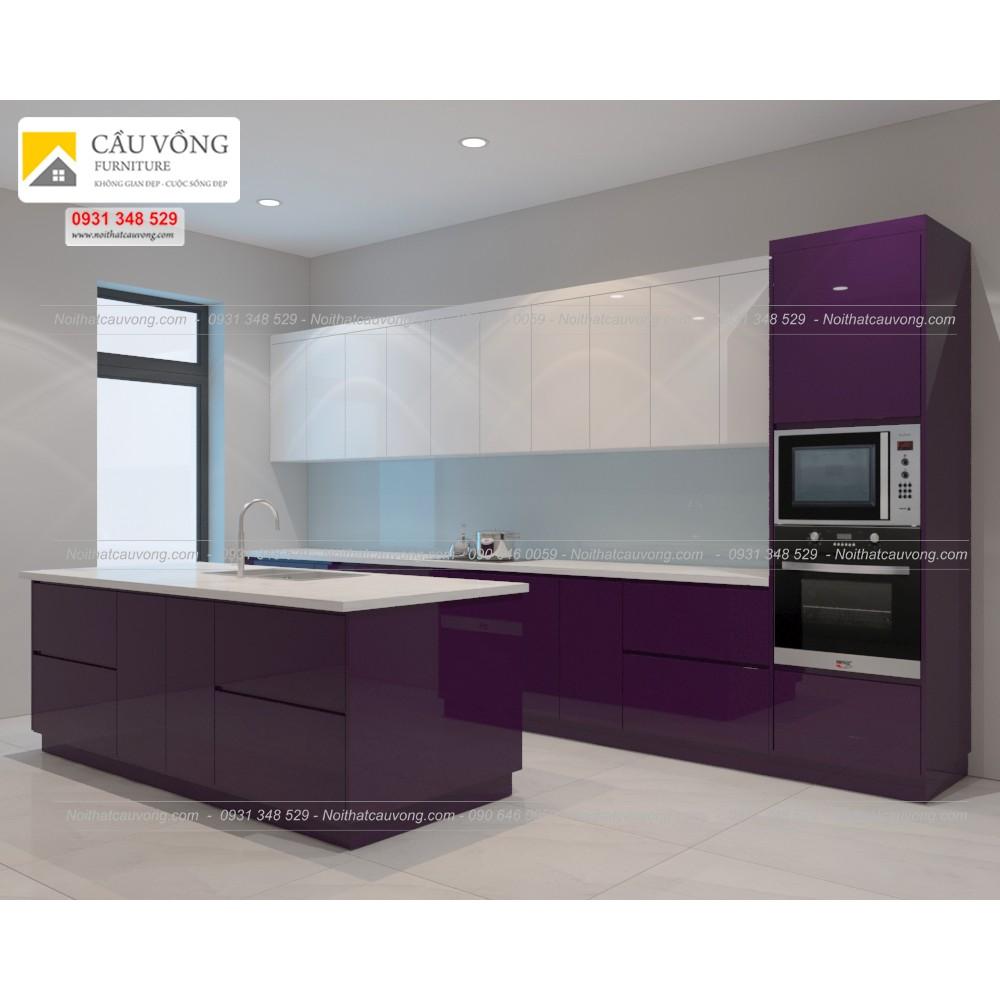 Mẫu tủ bếp Acrylic có đảo bếp TB61