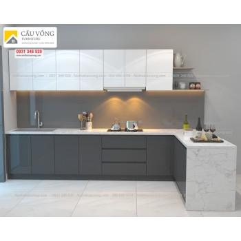 Tủ bếp Acrylic chữ L hiện đại TB67