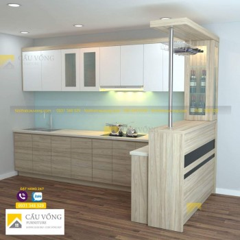 Tủ bếp kết hợp quầy bar TR92