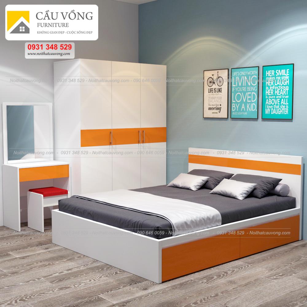 Bộ giường tủ phòng ngủ màu cam