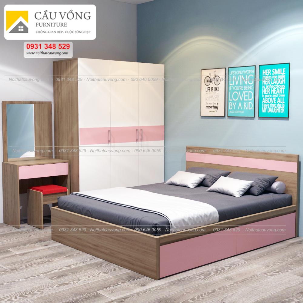Bộ giường tủ màu hồng