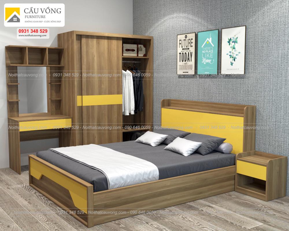 Bộ giường tủ màu vàng