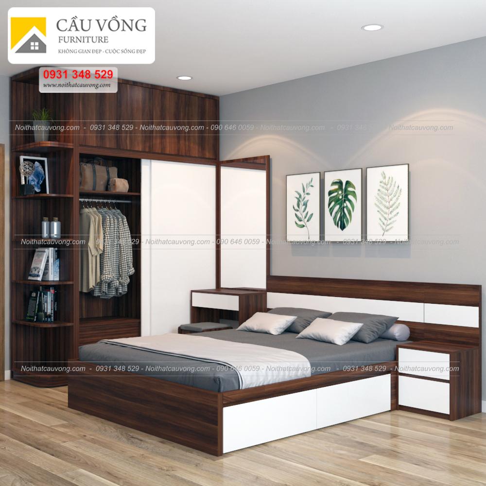 Bộ giường tủ đẹp gỗ an cường