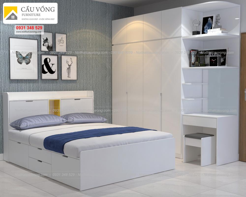 Bộ giường tủ phòng ngủ màu trắng