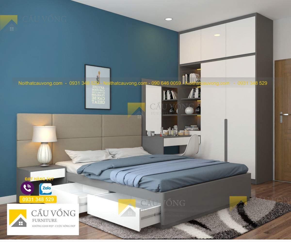 bộ phòng ngủ màu xám