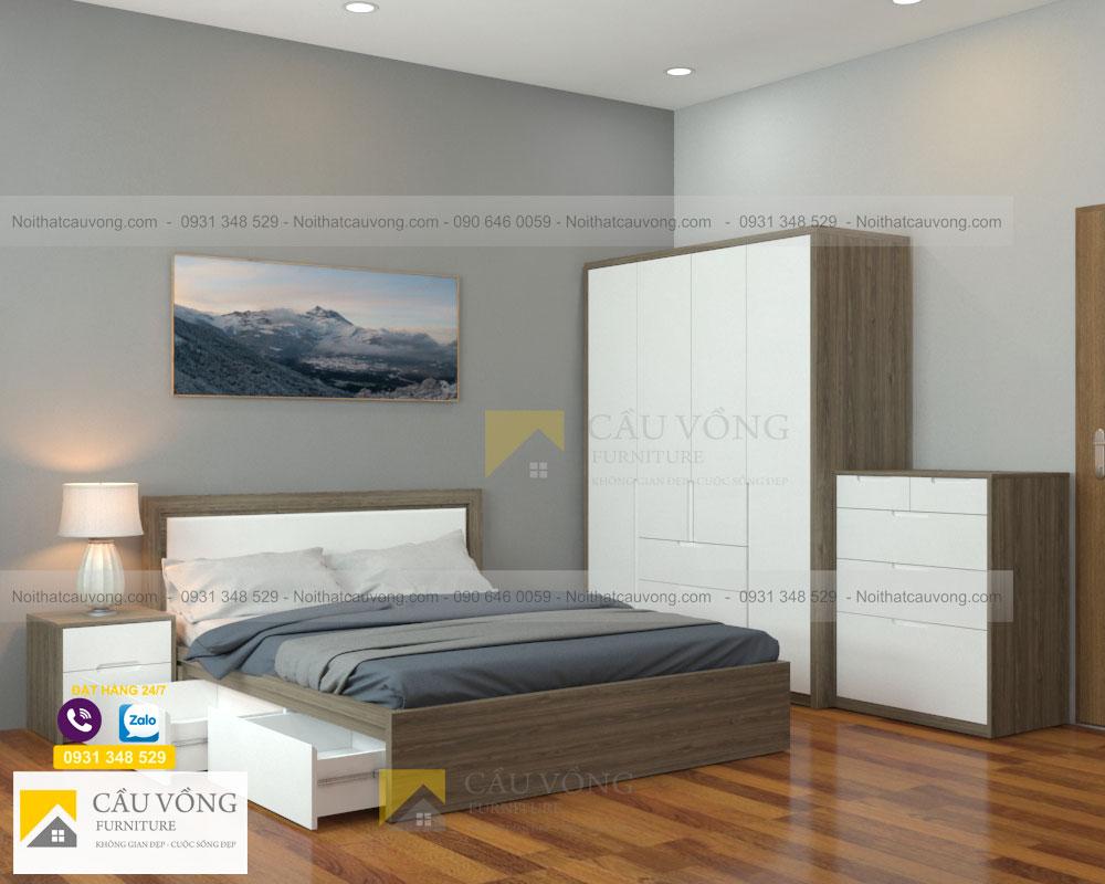 bộ phòng ngủ màu gỗ kết hợp trắng