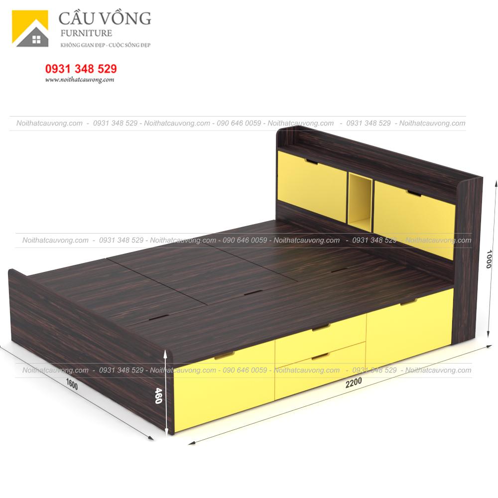 Giường ngủ hiện đại có ngăn kéo gỗ công nghiệp GCV31 (Ảnh 2)