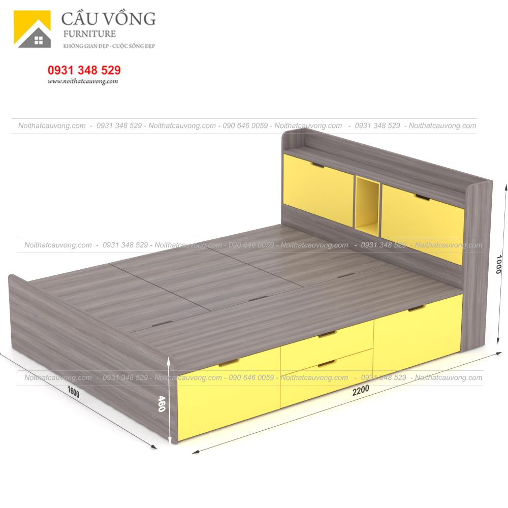 Giường ngủ hiện đại có ngăn kéo gỗ công nghiệp GCV31 (Ảnh 3)
