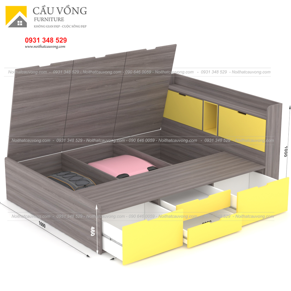 Giường ngủ hiện đại có ngăn kéo gỗ công nghiệp GCV31 (Ảnh 4)