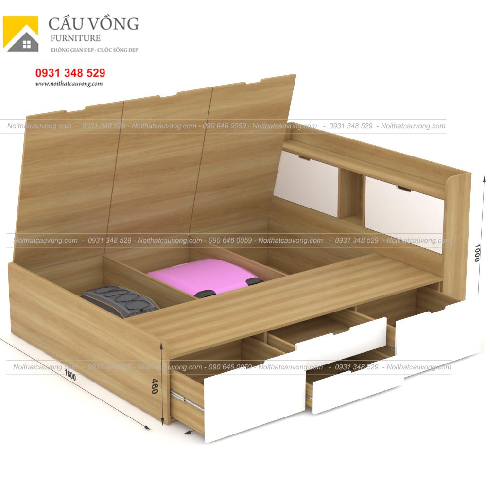 Giường ngủ hiện đại có ngăn kéo gỗ công nghiệp GCV31 (Ảnh 5)