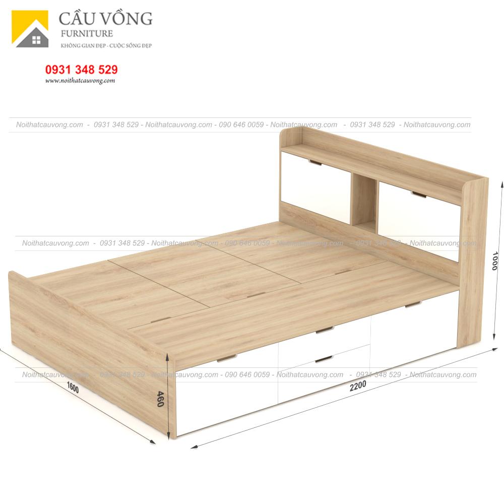 Giường ngủ hiện đại có ngăn kéo gỗ công nghiệp GCV31 (Ảnh 6)