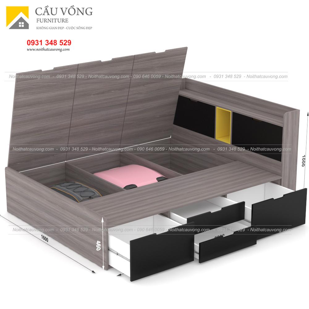 Giường ngủ hiện đại có ngăn kéo gỗ công nghiệp GCV31 (Ảnh 7)
