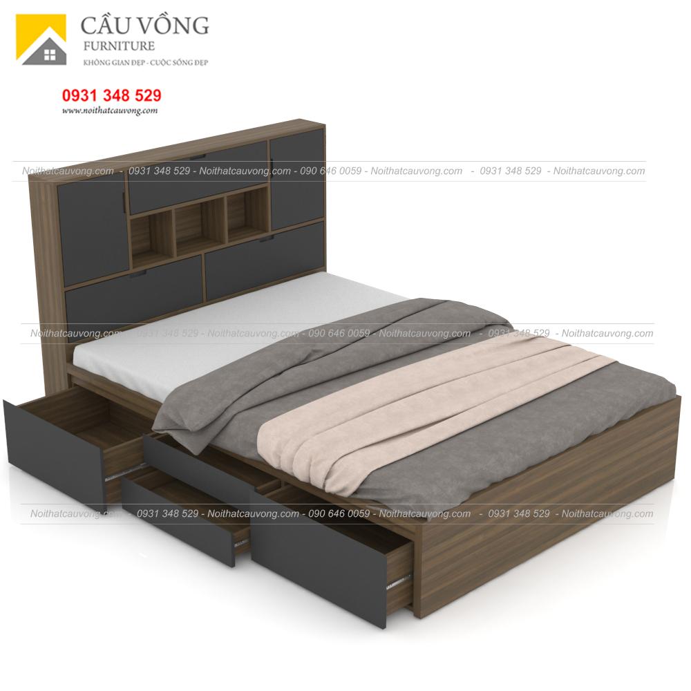 Giường ngủ gỗ công nghiệp hiện đại có hộc để đồ GCV63 (Ảnh 2)