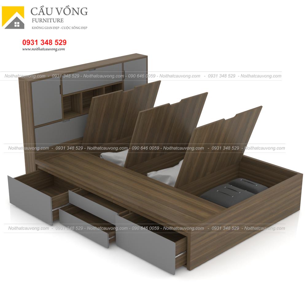 Giường ngủ gỗ công nghiệp hiện đại có hộc để đồ GCV63 (Ảnh 5)