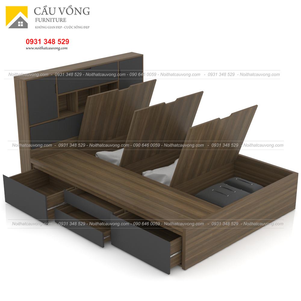 Giường ngủ gỗ công nghiệp hiện đại có hộc để đồ GCV63 (Ảnh 6)