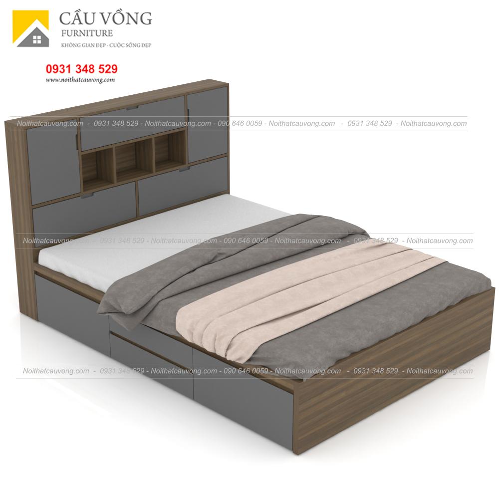 Giường ngủ gỗ công nghiệp hiện đại có hộc để đồ GCV63 (Ảnh 7)