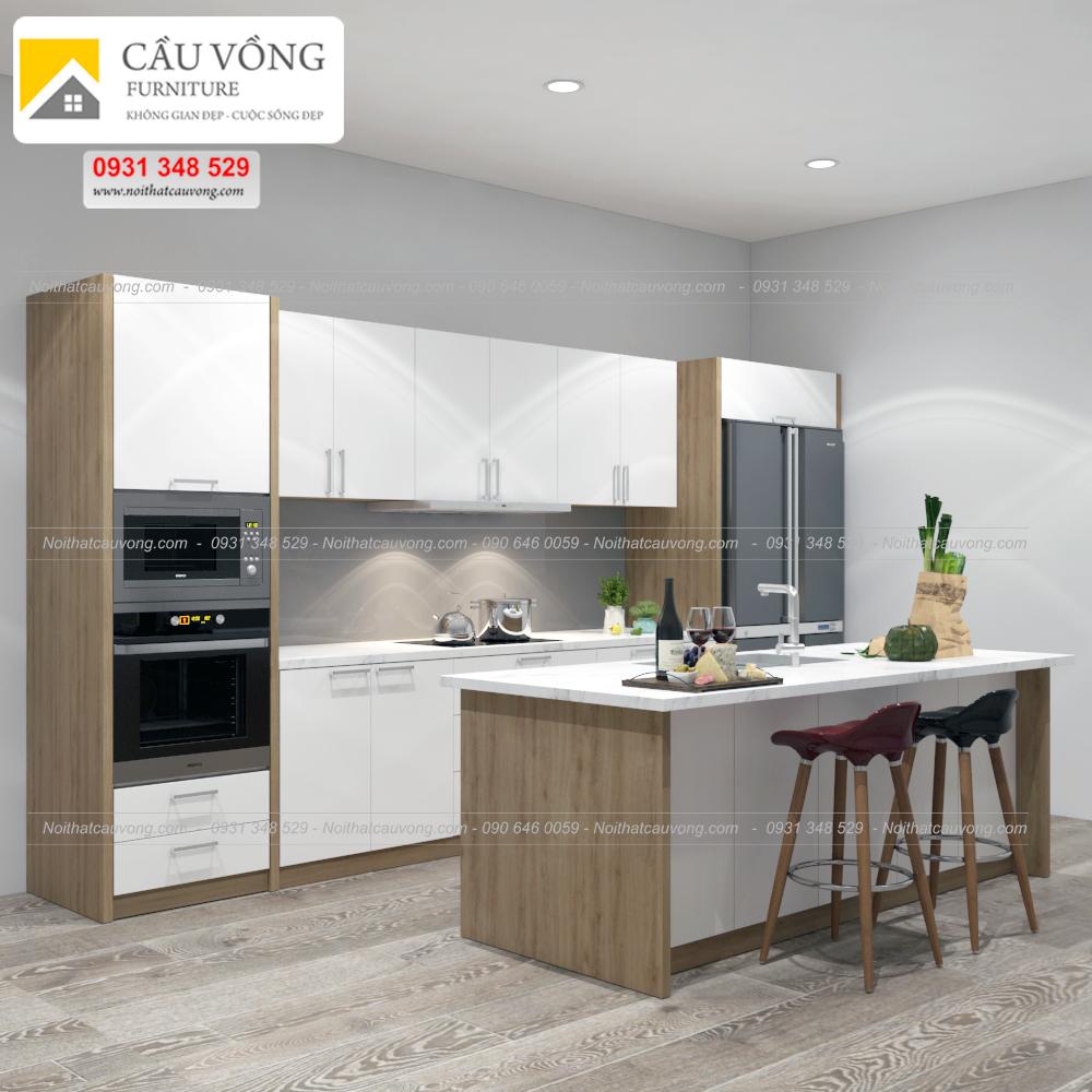 Tủ bếp gỗ Acrylic hiện đại