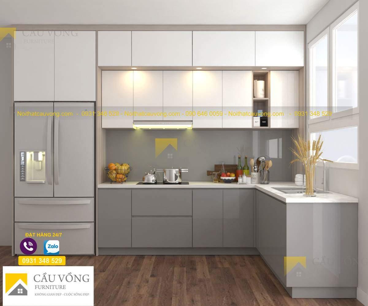 Tủ bếp gỗ acrylic hiện đại, chất lượng