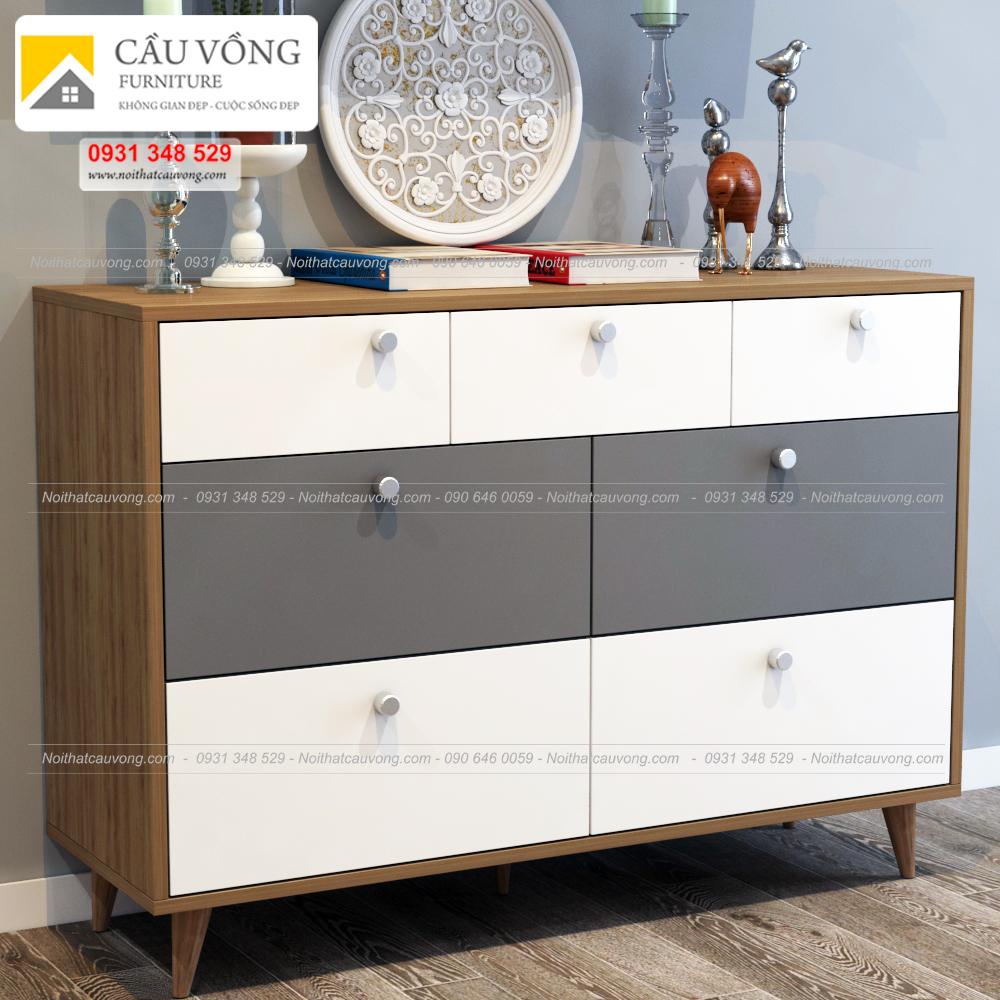 Tủ ngăn kéo chân gỗ