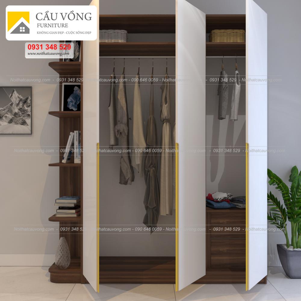 Tủ quần áo gỗ hiện đại có kệ góc và tay nắm âm tủ TA125 (Ảnh 2)
