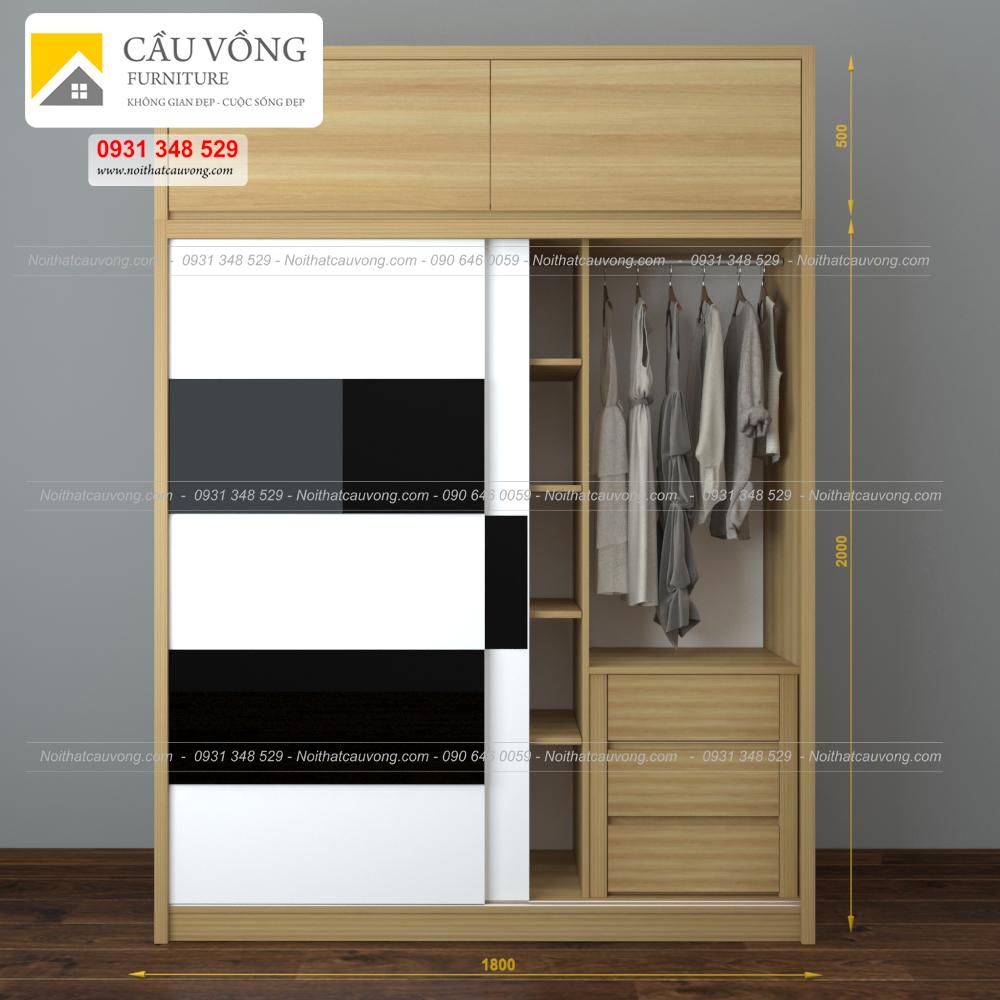 Tủ quần áo gỗ cửa lùa hiện đại TA61 (Ảnh 1)