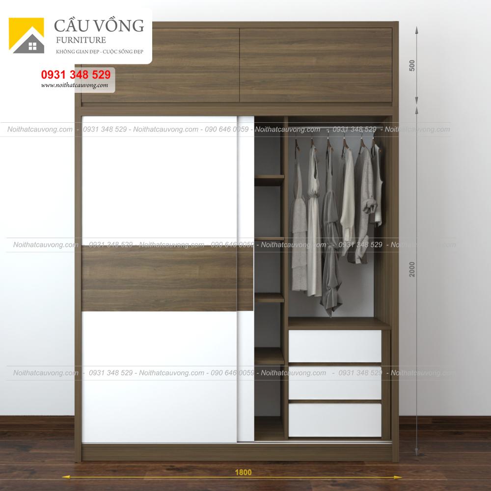 Tủ quần áo gỗ cửa lùa hiện đại TA61 (Ảnh 3)