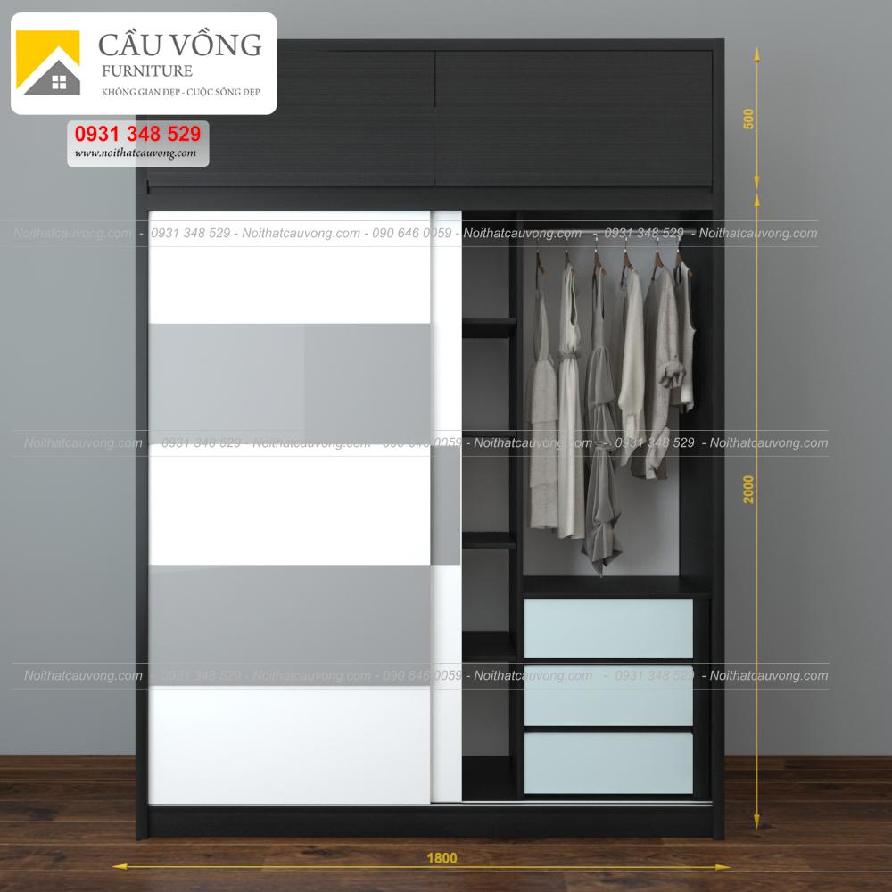 Tủ quần áo gỗ cửa lùa hiện đại TA61 (Ảnh 4)