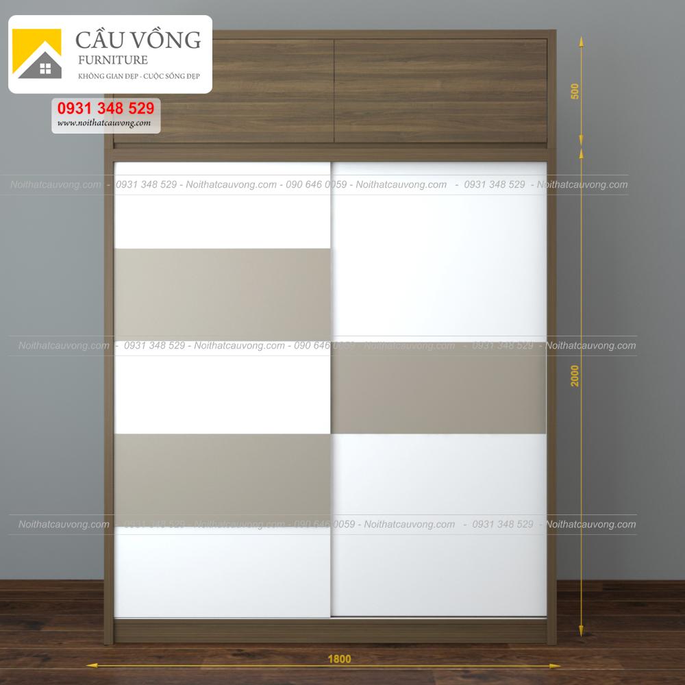 Tủ quần áo gỗ cửa lùa hiện đại TA61 (Ảnh 5)