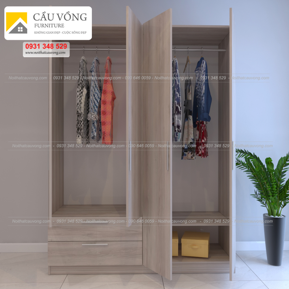 Tủ quần áo gỗ 4 cánh MDF TA71 (Ảnh 1)