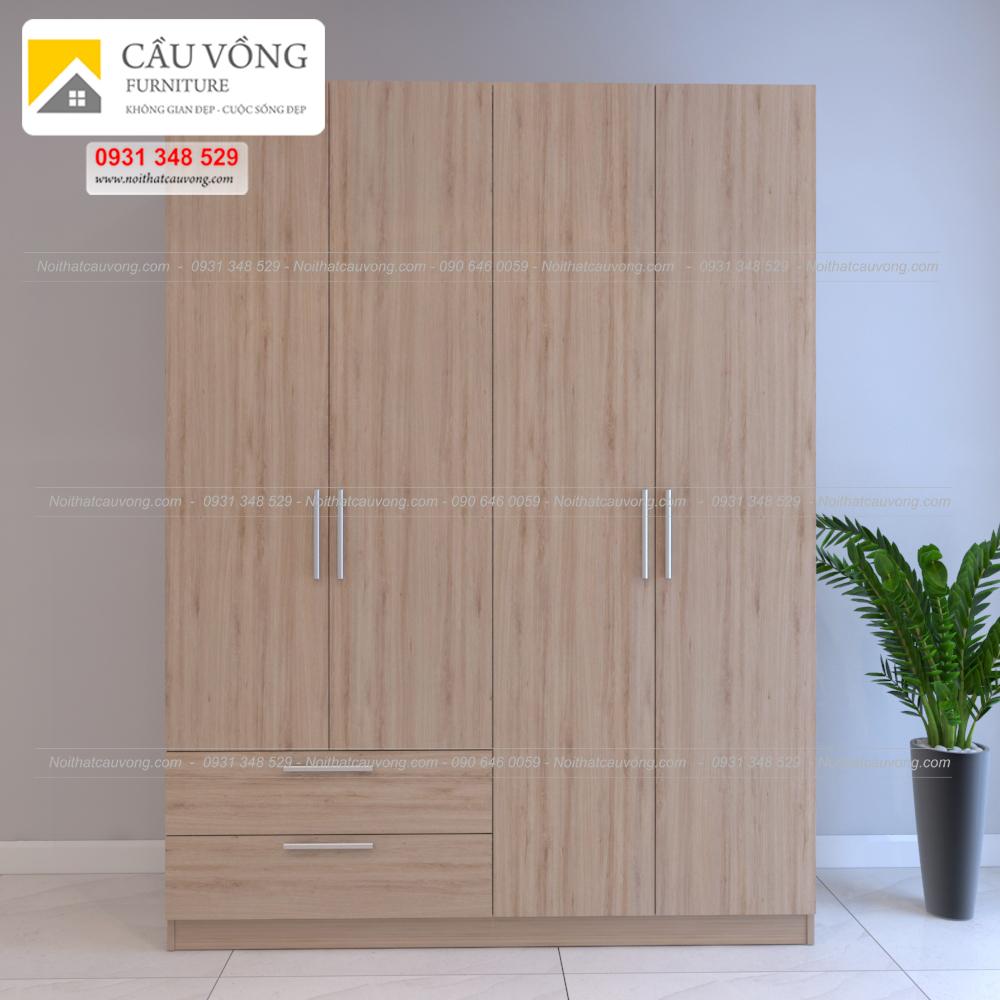 Tủ quần áo gỗ 4 cánh MDF TA71 (Ảnh 2)