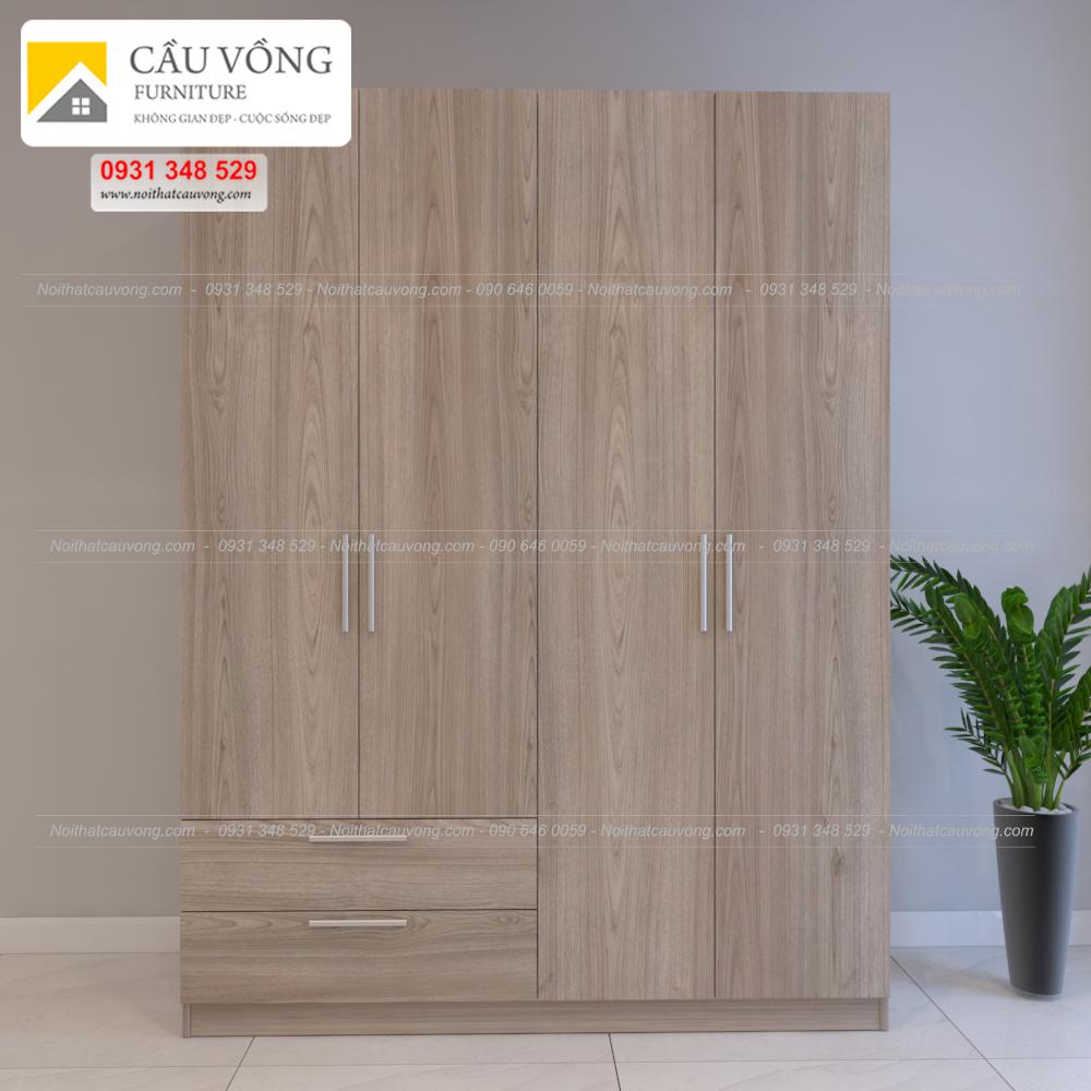 Tủ quần áo gỗ 4 cánh MDF TA71 (Ảnh 3)