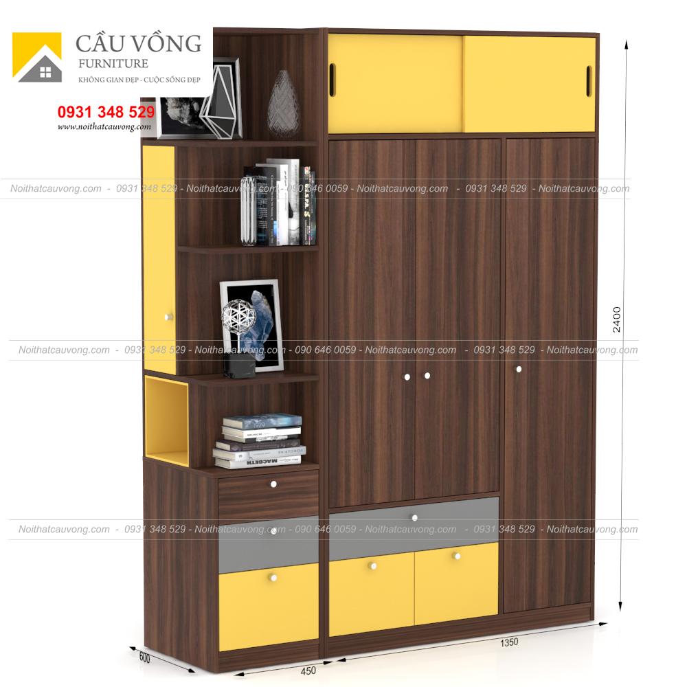 Tủ quần áo gỗ MDF TA96 (Ảnh 2)